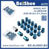 noix Hex de la roue 20+1PCS avec la surface bleue anodisée