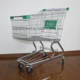 O trole do supermercado parte carros de compra do fechamento da moeda