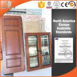 Дверь древесины красного дуба Кругл-Верхней части твердая нутряная подгоняла прикрепленную на петлях дверь двери деревянную, высоки похваленную китайскую деревянную дверь