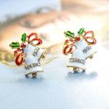 3つのカラーエナメルの小型水晶クリスマスのジングルベルのスタッドのイヤリング