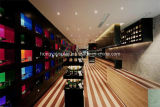 Cremagliera del vino per la decorazione del negozio della barra, banco di mostra, visualizzazione di Slatwall, decorazione dell'interno