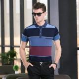 Camicia di T a strisce di polo di stampa del blocco con il breve manicotto per l'uomo