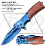 Couteau de poche de chasse à la poitrine Pakkawood fermé de 5 po en cuivre fermé: 6pn63-50gypk