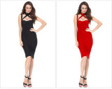Bandage de piste Robe satin noir Halter Backless evider robe de fête élégante robe Bodycon Hot Celebrity