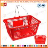 Panier à provisions en plastique de supermarché bon marché des prix avec deux traitements (Zhb68)