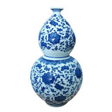 Vase antique blanc et bleu (LW401)