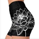 Preto e Branco Estilo quente Lotus Impresso Sports curtos para Mulheres Yoga Fitness Yoga Quick Dry curtos