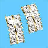 orecchino dell'oro giallo 9k con la pietra preziosa (LEG1107)