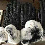 Четыре цвета зимней женщин с сенсорным экраном PU кожаные перчатки тепловой Mittens внутренней панели боковины