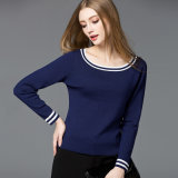 2018 Fashion femmes coton/polyester col rond Long Sleeve Couleur Pure Pull Pull
