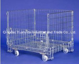 Zinco Plated Wire Mesh Storage Container Cage com Wheel