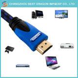 Umsponnenes überzogenes HDMI Kabel der Legierungs-4K 2.0 3D 18gbps Nylongold