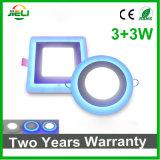 Double couleur ronde ou carrée enfoncée (12+6) panneau d'éclairage LED de W