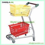 Drei Korb-Einkaufswagen-Supermarkt-bewegliche Laufkatze