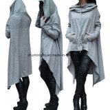 Les femmes de pull molletonné de Hoodies occasionnels Outwear les vêtements à capuchon de pull de couverture de long manteau desserré de chemise de Hoody