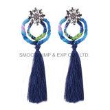 La moda de Metal Rhinestone borlas de larga 4 colores pendientes de joyería mujer