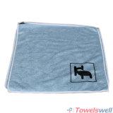 Microfiber stampato morbido blu che lucida il panno di pulizia di lavoro a maglia di trama