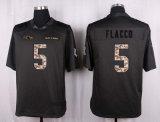 ボルティモアジョーFlaccoの黒い灰色のカスタマイズされたアメリカン・フットボールのジャージ