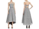 A - Zeile trägerloses hohes niedriges Kleid-Partei-Kleid