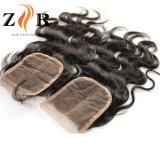 Cheveux brésiliens de la soie en dentelle suisse haut de la Dentelle de fermeture de cheveux