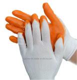 オイルの抵抗力があるニトリルのコーティングの働く手袋