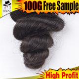 バージンの等級9Aのブラジルの毛のWeft /100 %Humanの毛