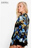 열대 인쇄된 길쌈된 여자 일본 옷 재킷