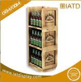 Equipamento de indicador de madeira personalizado da prateleira do supermercado do carrinho do assoalho da loja do gabinete de vidro do MDF para o frasco de vinho/leite/cerveja