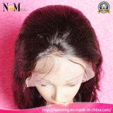Glueless 주문품 사람의 모발 가발 페루 머리 가발 Burgundy 레이스 정면 가발 8inch에 두바이에 있는 30inch 가발