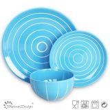 Blue Color 16PCS Ensemble de vaisselle en grès pour usage domestique
