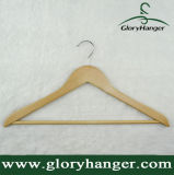Uso de vestuário de cabide superior de madeira, cabide de camisa com calças Bar
