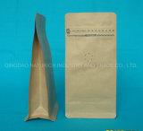 125 g de junta cuádruple Kraft, bolsa de papel Kraft de café de grano de café envasado bolsas con válvula
