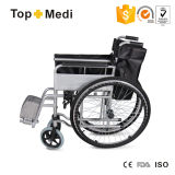 Topmedi Cheap Cheap Folding Steel Wheelchair pour handicapés