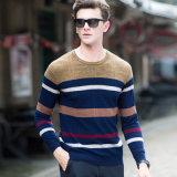 Neue Entwurfs-Woolen Strickjacke-runder Stutzen-Streifen-Pullover des Mannes