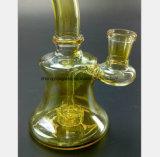 6,3 pouces de fumer en verre jaune tuyau Tuyau de recyclage du filtre à eau