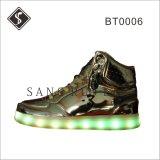 Mode Femmes conduit Sneaker Bottes à semelle extérieure en cuir supérieur et de la lumière
