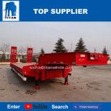 Titan 4 120 tonnes d'essieu lit basse camion remorque plate-forme basse pour transporter des sacs de ciment avec étapes hydraulique
