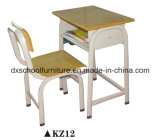 Single Primary School Wood Desk and Chair Set
