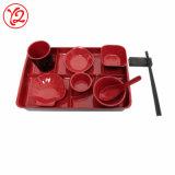 A impressão de segurança alimentar a melamina grande tabuleiro de servir com pegas