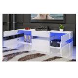Amplio y moderno Estante de cristal Armario alto brillo LED Soporte de TV