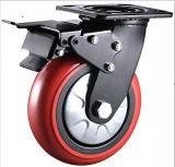 黒いブラケット8インチ赤いPUの車輪の産業頑丈な旋回装置の足車