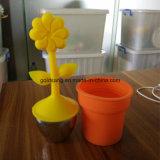 Forme belle fleur avec Salher Silicone + 304 infuseur de thé en acier inoxydable