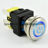 Power 4 Pin desactivado el bloqueo de 16 a 19mm Interruptor Pulsador de metal