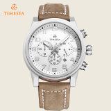 Chronograph-Sport-Armbanduhrmens-analoge Uhr mit echtem Leather72198
