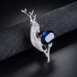 Broche plateada oro del Pin de la joyería de la manera del Zircon de la aleación del metal de la dimensión de una variable de los ciervos