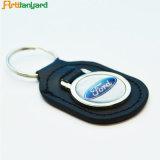 Keychain de couro em branco relativo à promoção com metal