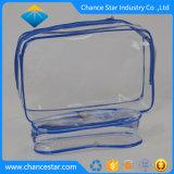 Custom de plástico transparente de PVC transparente con cremallera costura bolsa de cosméticos