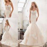 セクシーなビーズのレースの人魚の魚の花嫁衣装のウェディングドレス(8118)