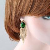 새로운 디자인 녹색 입방 지르코니아 하락 브라질 금 귀걸이