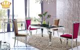 Tabella pranzante di vetro di rettangolo con la mobilia dei piedini dell'acciaio inossidabile a casa